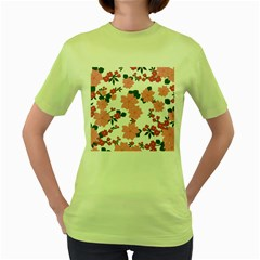 Vintage Floral Wallpaper Background In Shades Of Pink Women s Green T Shirt
