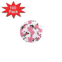 Vintage Floral Wallpaper Background In Shades Of Pink 1  Mini Magnets (100 pack)