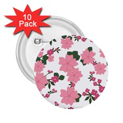 Vintage Floral Wallpaper Background In Shades Of Pink 2 25  Buttons (10 Pack)