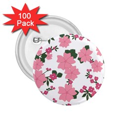 Vintage Floral Wallpaper Background In Shades Of Pink 2 25  Buttons (100 Pack)