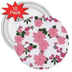 Vintage Floral Wallpaper Background In Shades Of Pink 3  Buttons (10 pack)