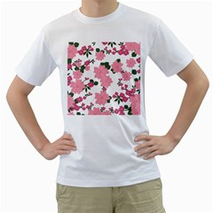 Vintage Floral Wallpaper Background In Shades Of Pink Men s T-Shirt (White) (Two Sided)
