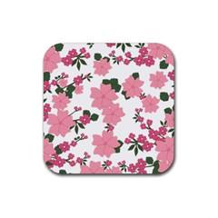 Vintage Floral Wallpaper Background In Shades Of Pink Rubber Square Coaster (4 pack)