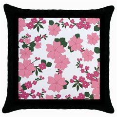 Vintage Floral Wallpaper Background In Shades Of Pink Throw Pillow Case (Black)