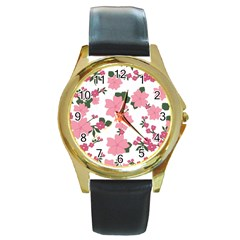 Vintage Floral Wallpaper Background In Shades Of Pink Round Gold Metal Watch