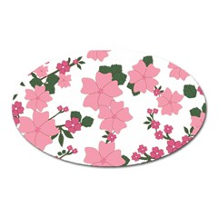 Vintage Floral Wallpaper Background In Shades Of Pink Oval Magnet