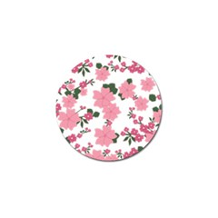 Vintage Floral Wallpaper Background In Shades Of Pink Golf Ball Marker