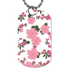 Vintage Floral Wallpaper Background In Shades Of Pink Dog Tag (Two Sides)