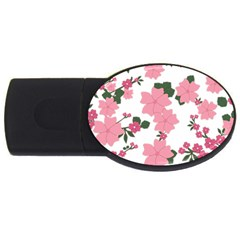 Vintage Floral Wallpaper Background In Shades Of Pink USB Flash Drive Oval (2 GB)