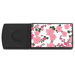 Vintage Floral Wallpaper Background In Shades Of Pink USB Flash Drive Rectangular (2 GB)