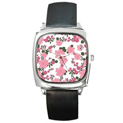 Vintage Floral Wallpaper Background In Shades Of Pink Square Metal Watch