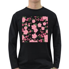 Vintage Floral Wallpaper Background In Shades Of Pink Long Sleeve Dark T Shirts