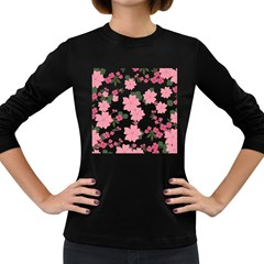 Vintage Floral Wallpaper Background In Shades Of Pink Women s Long Sleeve Dark T-Shirts