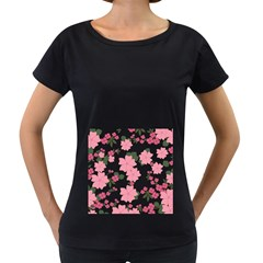 Vintage Floral Wallpaper Background In Shades Of Pink Women s Loose-Fit T-Shirt (Black)