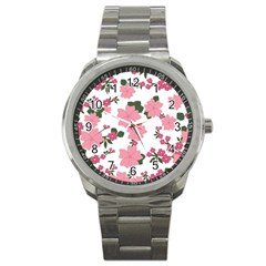 Vintage Floral Wallpaper Background In Shades Of Pink Sport Metal Watch