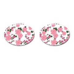Vintage Floral Wallpaper Background In Shades Of Pink Cufflinks (oval)