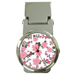 Vintage Floral Wallpaper Background In Shades Of Pink Money Clip Watches