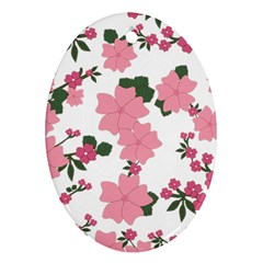 Vintage Floral Wallpaper Background In Shades Of Pink Oval Ornament (Two Sides)