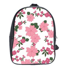 Vintage Floral Wallpaper Background In Shades Of Pink School Bags(Large)