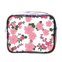 Vintage Floral Wallpaper Background In Shades Of Pink Mini Toiletries Bags