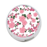 Vintage Floral Wallpaper Background In Shades Of Pink 4-Port USB Hub (Two Sides)  Front