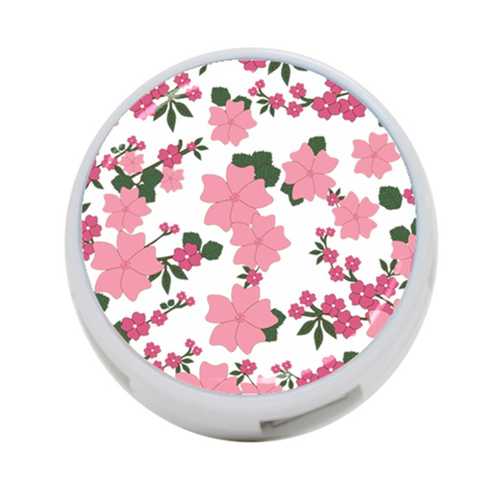 Vintage Floral Wallpaper Background In Shades Of Pink 4-Port USB Hub (Two Sides)