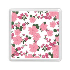 Vintage Floral Wallpaper Background In Shades Of Pink Memory Card Reader (square)