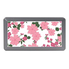 Vintage Floral Wallpaper Background In Shades Of Pink Memory Card Reader (Mini)