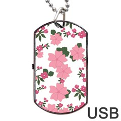 Vintage Floral Wallpaper Background In Shades Of Pink Dog Tag USB Flash (One Side)