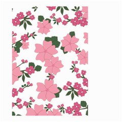 Vintage Floral Wallpaper Background In Shades Of Pink Small Garden Flag (Two Sides)