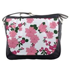 Vintage Floral Wallpaper Background In Shades Of Pink Messenger Bags