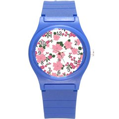 Vintage Floral Wallpaper Background In Shades Of Pink Round Plastic Sport Watch (s)