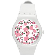 Vintage Floral Wallpaper Background In Shades Of Pink Round Plastic Sport Watch (M)