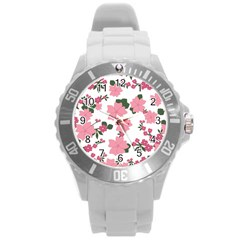 Vintage Floral Wallpaper Background In Shades Of Pink Round Plastic Sport Watch (L)