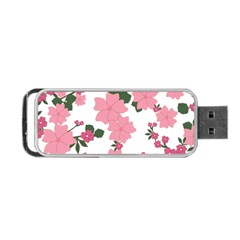 Vintage Floral Wallpaper Background In Shades Of Pink Portable USB Flash (One Side)