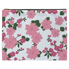 Vintage Floral Wallpaper Background In Shades Of Pink Cosmetic Bag (XXXL)