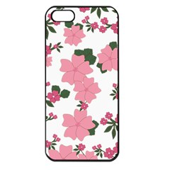 Vintage Floral Wallpaper Background In Shades Of Pink Apple iPhone 5 Seamless Case (Black)