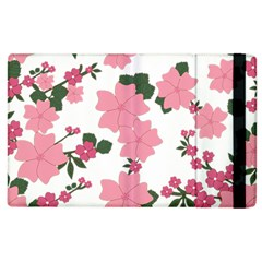 Vintage Floral Wallpaper Background In Shades Of Pink Apple iPad 2 Flip Case