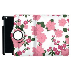Vintage Floral Wallpaper Background In Shades Of Pink Apple iPad 3/4 Flip 360 Case