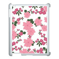 Vintage Floral Wallpaper Background In Shades Of Pink Apple iPad 3/4 Case (White)
