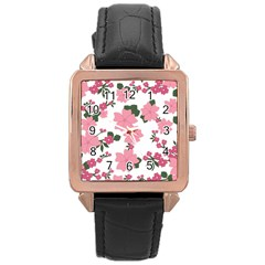 Vintage Floral Wallpaper Background In Shades Of Pink Rose Gold Leather Watch