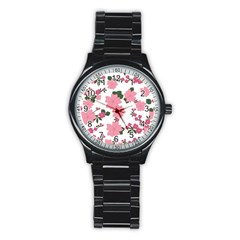 Vintage Floral Wallpaper Background In Shades Of Pink Stainless Steel Round Watch