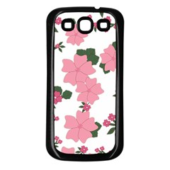 Vintage Floral Wallpaper Background In Shades Of Pink Samsung Galaxy S3 Back Case (Black)