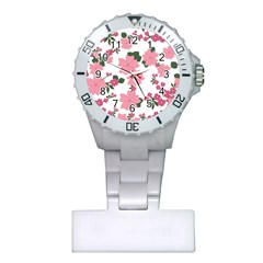 Vintage Floral Wallpaper Background In Shades Of Pink Plastic Nurses Watch