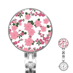 Vintage Floral Wallpaper Background In Shades Of Pink Stainless Steel Nurses Watch