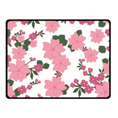 Vintage Floral Wallpaper Background In Shades Of Pink Double Sided Fleece Blanket (Small)
