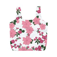 Vintage Floral Wallpaper Background In Shades Of Pink Full Print Recycle Bags (M)
