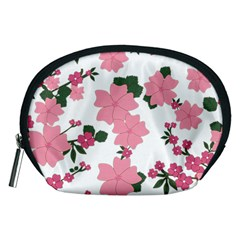 Vintage Floral Wallpaper Background In Shades Of Pink Accessory Pouches (Medium)