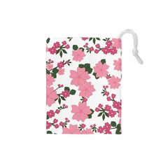 Vintage Floral Wallpaper Background In Shades Of Pink Drawstring Pouches (Small)