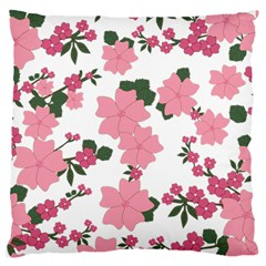 Vintage Floral Wallpaper Background In Shades Of Pink Large Flano Cushion Case (Two Sides)